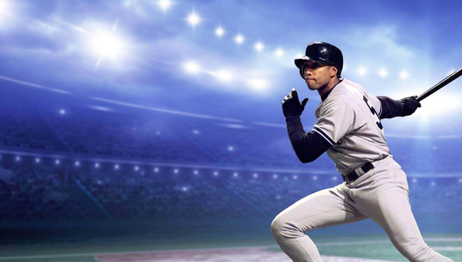 Bernie Williams Swinging a Bat in a Yankees Uniform